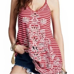 FREE PEOPLE Stripe Embroidered Top Frill Hem